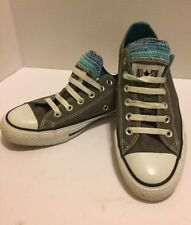 Converse All Star Gray with Multi-colored Tongues, Sz. Men 6 Wn 8