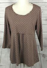 Boden Womens US 16 Pullover Top Tunic Brown Purple Polka Dot 3/4 Sleeve