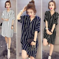 UK 8-24 ZANZEA Women Striped Short Sleeve Casual Baggy Shirt Dress Kaftan Tops