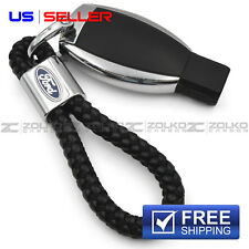 KEYCHAIN KEY FOB CHAIN RING BLACK LEATHER FOR FORD - US SELLER EE13