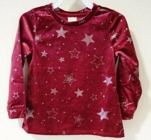 BNWT Gymboree Winter Star Burgundy Sparkly Silver Star Top Girl's Size 5/5T
