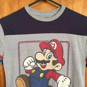 Super Mario T Shirt Tshirt Youth Kids Size M (10-12) Gray Black Red Blue
