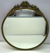 Vintage Round French Rocco Style Metal Gold frame  Mirror 45 cm Diameter