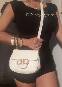 Authentic Vintage Salvatore Ferragamo crossbody Bag Ivory/off white used purse