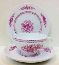 """Hutschenreuther """"Pink Bouquet"""" Pattern Tea Cup Trio."""
