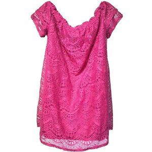 love fire Women's Size L pink crochet lace cap Short sleeve Blouse top