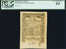 Rhode Island May 1786 6d PCGS Very Choice New 64 Colonial Currency mint