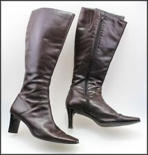 Women's Leather Cuban Knee High Boots