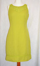 PER UNA Size 14R Lime Green Linen Shift Dress Pretty Emroidered Gem * CLEAN VGC