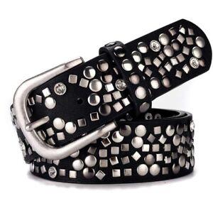 Faux Leather Belt Glitter Rivet Studded Waistband Buckle Punk Gothic Adjustable