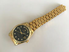 Rare BULOVA SUPER SEVILLE Day & Date Black Automatic 2834-2 Gold pl. Swiss Watch