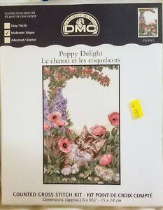 DMC Creative World Poppy Delight w/ Kitten Counted Cross Stitch Kit