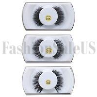 2pcs 100%Real Mink Natural 3D False Fake Eyelashes Makeup Extension Eye Lashes