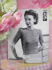 """Vintage 40s Knitting Pattern Lady's 'Zena' Lace-Look Jumper 34-36"""" Bust  NO P&P"""