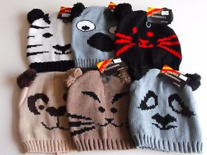 Girls/Boys Animal Faced Knitted Beanie Hats with Pom Pom Bobble Ears One Size
