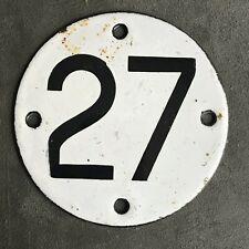 HOME GARAGE SHOP GATE ENAMEL NUMBER 27 PLATE SIGN