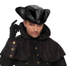 Mens Black Tricorn Hat Pirate Ross Poldark Fancy Dress Costume Headwear NEW