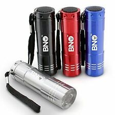 Pack of 4 BNO BYB Super Bright 9 LED Mini Aluminum Flashlight with Lanyard with
