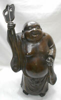 LARGE Antique Bronze BUDDHA Statue HOTEI LUCKY GOD Japanese #46