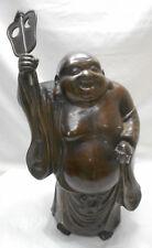 LARGE Antique Bronze BUDDHA Statue HOTEI LUCKY GOD Japanese #46