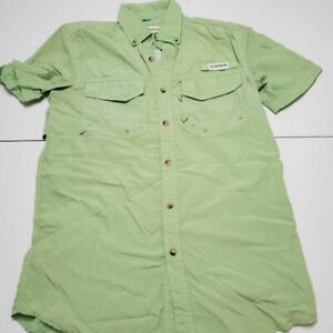 Magellan Mens Fishing Button-Down Shirt Green Short Sleeve Mesh Angler Fit XS