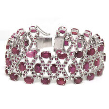 De Buman Sterling Silver Natural Ruby Wild Line Bracelet, 7.5 inch