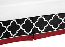 Toddler Bed Skirt Dust Ruffle For Sweet Jojo Red Black Trellis Girl Boy Bedding