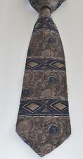 PIERRE CARDIN Brown 100% Silk 58 Inches Long Geometric Men's Necktie