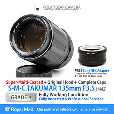 ⭐SERVICED⭐ TAKUMAR 135mm F3.5 +Orig Hood&Cap+ Sony E-mount NEX Adapter [GRADE A]