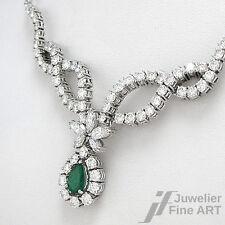 Collier mit Smaragd-Tropfen + Diamanten ca. 5,45 ct TW-VVS in Weißgold - 18,8 g