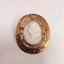 Antique Shell Cameo Pin Brooch 14K Karat Rose Gold Frame 1 1/8 Inch Tall