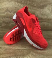 Nike Air Max 90 Ultra 2.0 Flyknit Men Running Shoes Bright Crimson Red White