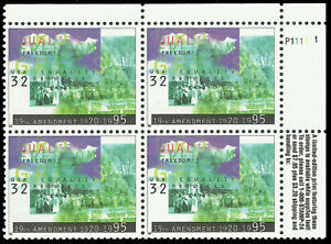 Scott 2980, Plate Number Block - The 1995 Women's Suffrage Issue - MNH