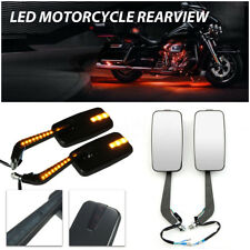 Motorcycle LED Integraded Turn Signal Rearview Mirror For Harley Suzuki Yamaha