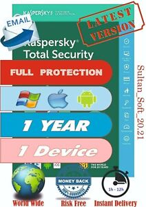 Kaspesky Total Security 2021 - 1 Device/1 Year - Global Key - Instant Email