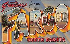 A79/ Fargo North Dakota Nd Postcard 1953 Linen Large Letter Greetings 1
