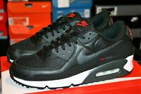 AUTHENTIC NIKE AIR MAX 90 Black Smoke Grey Red Running Shoes DH4095 001 Men size