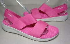 Crocs Size 8 LITERIDE STRETCH Electric Pink White Sandals New Womens Shoes