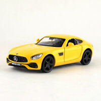 1:36 AMG GTS Sports Car Model Diecast Gift Toy Vehicle Kids Pull Back Yellow