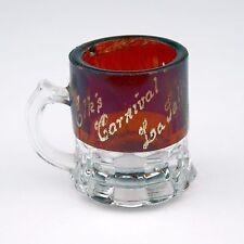 Antique July 4 1902 Elk's Carnival Flash Glass Ruby Red Mug Shot Mini World Fair