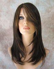Long Wig Straight HEAT OK Shag Layers Bangs Dark Brown Strawberry Mix Susie Wigs