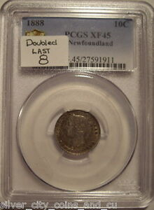 Canada Newfoundland 1888 Doubled 8 Silver 10 Cent - PCGS EF-45
