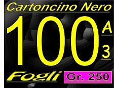 100 FOGLI DI CARTA CARTONCINO NERO LISCIO 250 GRAMMI  COPERTINE  RILEGATURA  A3