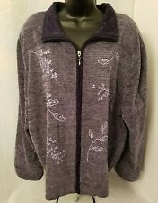T & Company Womens Multi Color Embroidered Zipper Jacket Coat Size 2X