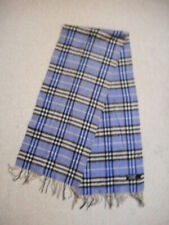 Scarf-BURBERRY-ENGLAND-blue/black/white plaid 100% cashmere fringe-14x64
