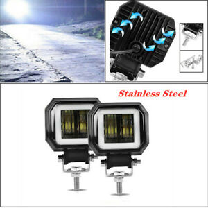 "2PCS 3"" 20W LED Angel Eyes Light Bar Offroad IP68 Car LED Work Light Spot Light"