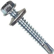 """10 Pk Hillman 1/4"""" X 1"""" Steel Hex Washer Head Self-Drilling Screw @100/Pk 561050"""