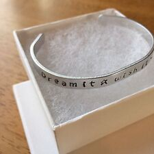 Dream Wish Do It Metal Stamped Bracelet Aluminum Cuff Bangle Customized GIFT NEW