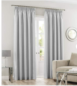 """SILVER FAUX SILK UNLINED LIGHT WEIGHT CURTAINS 90""""x72"""""""