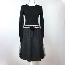 RED VALENTINO BLACK DRESS TULLE BUTTOM RIBBED TOP BOW SIZE S EUC